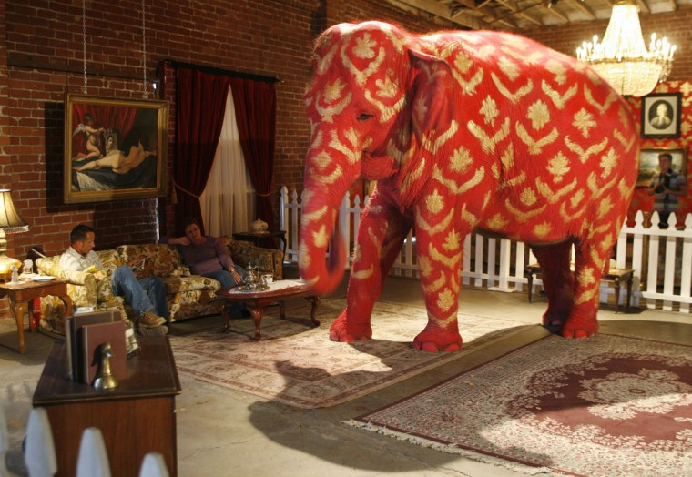 """Tai, a 38-year-old Asian elephant, painted by British underground artist Banksy, is displayed at the """"Barely Legal"""" exhibition at a warehouse near downtown Los Angeles on September 15, 2006. (REUTERS/Fred Prouser )"""