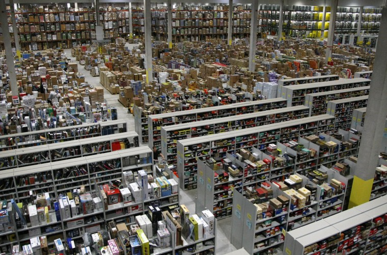 A general view shows packages at the Amazon warehouse in Leipzig, December 3, 2008. The shelves at the company's warehouse become full during the busiest time of the year before Christmas. (Fabrizio Bensch/Reuters)