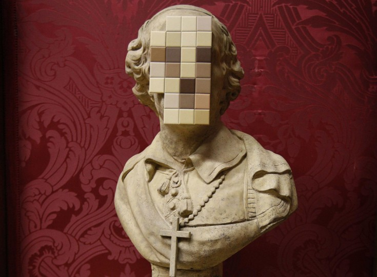 'Cardinal Sin,' a new work by British artist Banksy, is unveiled at the Walker Art Gallery in Liverpool, England on December 16, 2011. (REUTERS/Phil Noble)