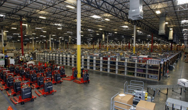Merchandise sits at the Amazon Phoenix Fulfillment Center in Goodyear, Arizona, November 16, 2009. Amazon.com Inc has led the way in lobbying for online retailers to remain exempt from charging sales tax, arguing that they are protected by a 1992 Supreme Court decision, according to the report by the nonpartisan Center on Budget and Policy Priorities. (Rick Scuteri/Reuters)