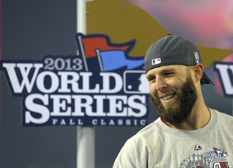 Boston Red Sox second baseman Dustin Pedroia is pictured after Game 6 of the World Series against the St. Louis Cardinals at Fenway Park. (Bob DeChiara/USA TODAY Sports)