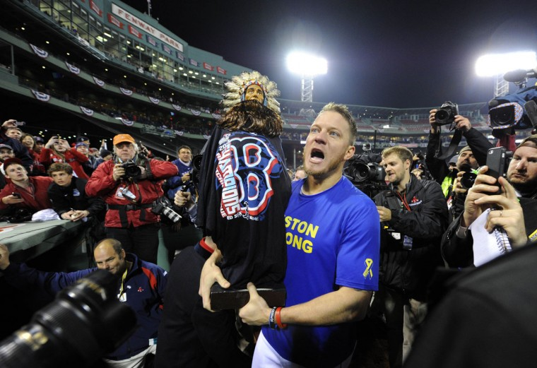 Boston Red Sox starting pitcher Jake Peavy celebrates on the field after Game 6 of the World Series against the St. Louis Cardinals at Fenway Park. (Robert Deutsch/USA TODAY Sports)