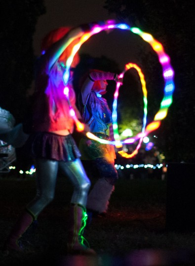 Hula-hoopers entertain the crowd at the annual Halloween Lantern Parade through Patterson Park, October 26, 2013. (Nate Pesce/For the Baltimore Sun)