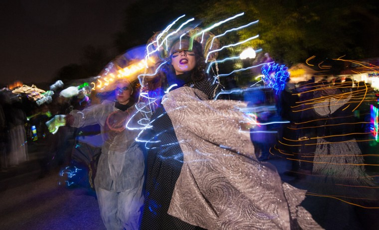 Morgan Phillips, front, came clad in costume to participate in the annual Halloween Lantern Parade through Patterson Park, October 26, 2013. (Nate Pesce/For the Baltimore Sun)