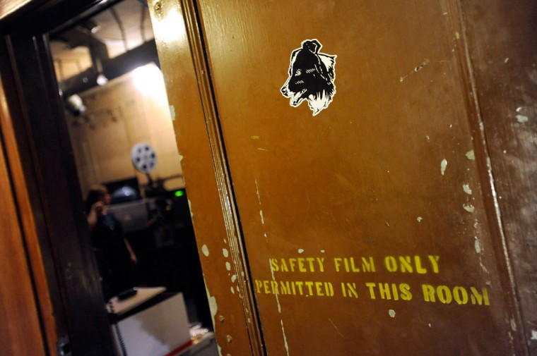 This door leads to the projection room. (Steve Ruark/ for The Baltimore Sun)