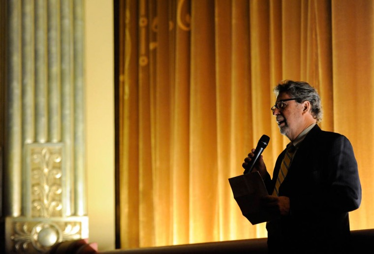 "Senator Theatre co-owner James ""Buzz"" Cusack speaks during the reopening of the newly renovated theater. (Steve Ruark/ for The Baltimore Sun)"