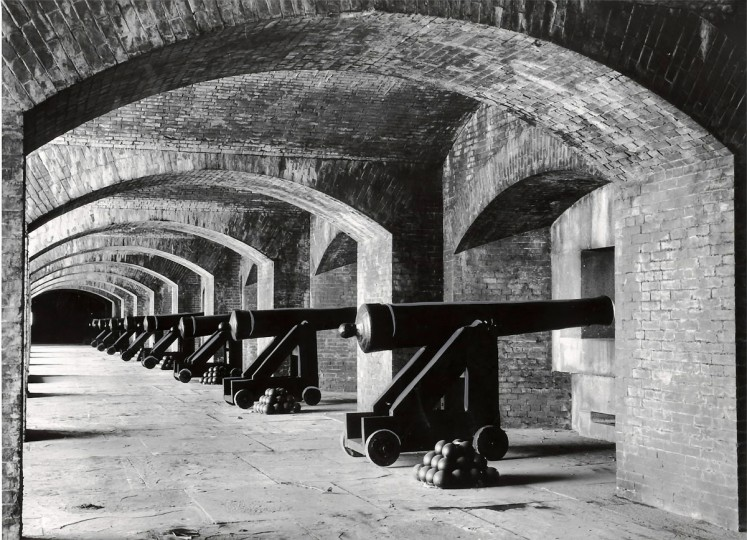 Replica cannons stand in a line at Fort Carroll in this Oct. 1961 photograph. The original guns had been forged at a foundry built specially for that purpose on the the island. (Robert F. Kniesche/Baltimore Sun)