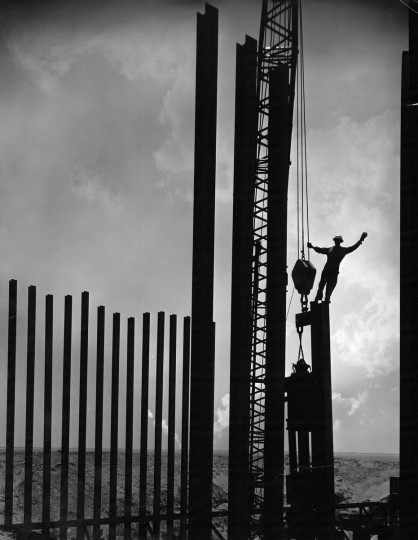A man works on the construction on the Chesapeake Bay Bridge Tunnel in August 1964, shortly after the the 23-mile span opened to traffic on the northbound side, a project that took nearly four years to complete. (A. Aubrey Bodine/Baltimore Sun)