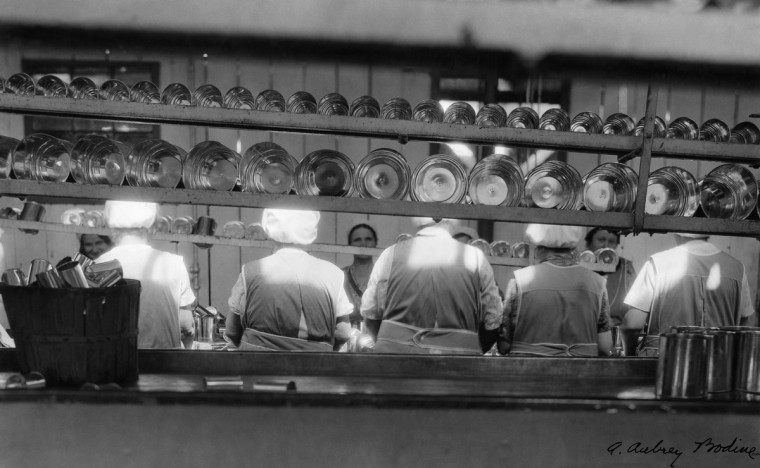 All from Bodine's Industry: The Dignity of Work. Canning Tomatoes in a Cannery in Baltimore, 1932 (Plate 044) photo by A. Aubry Bodine.