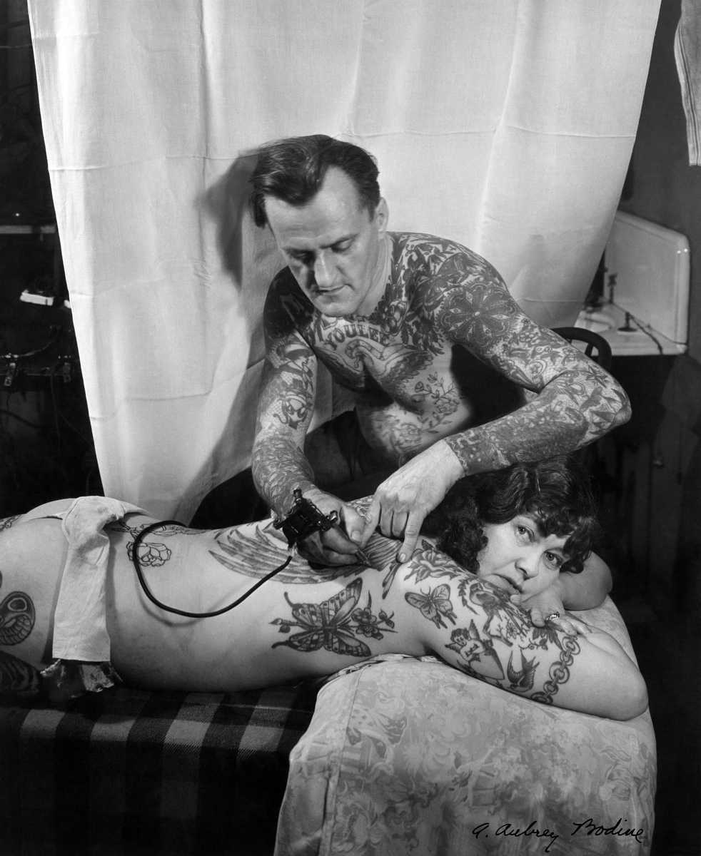 Bodine s industry the dignity of work by a aubrey bodine for Vintage tattoo art parlor