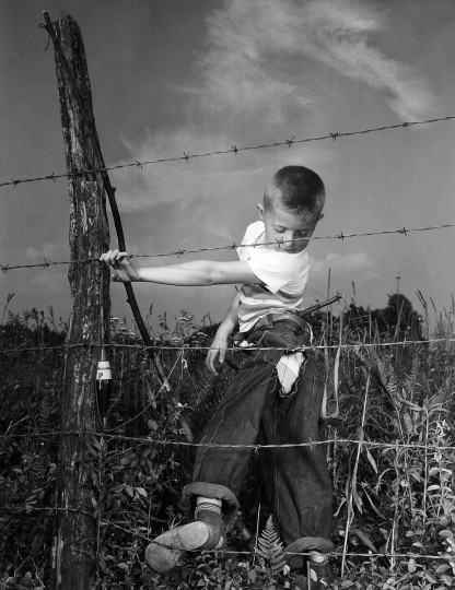 This young fisherman is going to need a patch job as he's snagged on a barbed-wire fence in September 1949. (A. Aubrey Bodine/Baltimore Sun)