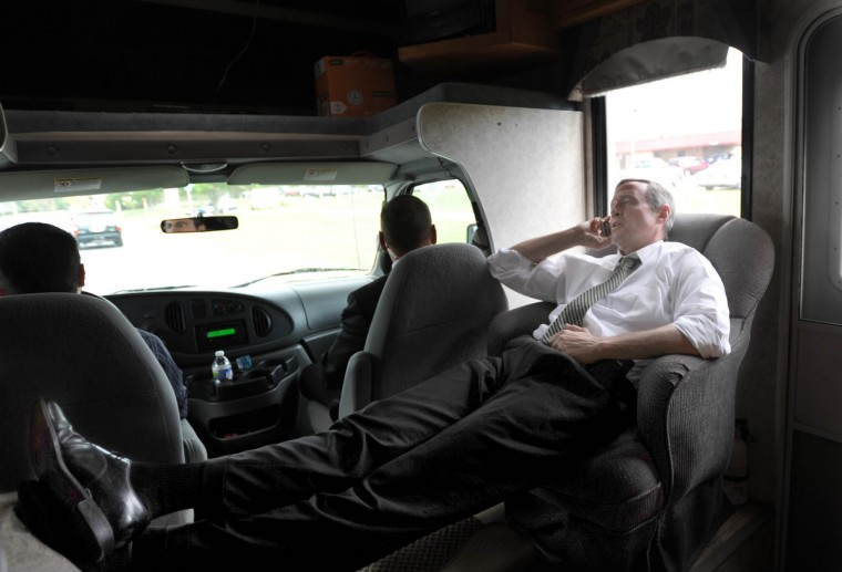 In October 2010 Governor Martin O'Malley relaxes while talking on his phone on the way to a campaign stop on the eastern shore, traveling in his rented RV. (Barbara Haddock Taylor/Baltimore Sun)