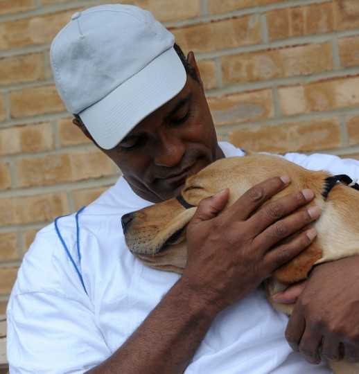 Terry Dorsey, 50, is seen with Delta, a labrador he is working with to be a service dog. Dorsey is among incarcerated veterans and other prisoners training service dogs for wounded service people at Maryland Correctional Institution-Hagerstown. (Kim Hairston/Baltimore Sun)