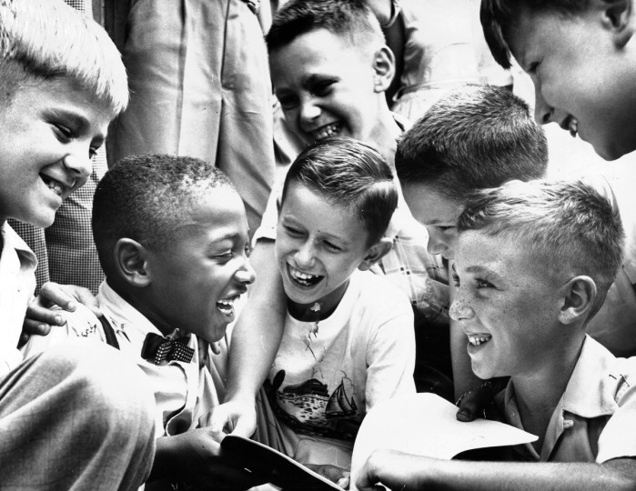 Charles Thompson greets his new classmates at Public School No. 27 on Sept. 1954, less than four months after the Supreme Court ruled that racial segregation was unconstitutional. Charles was the only African-American child in the school. (Richard Stacks/Baltimore Sun)
