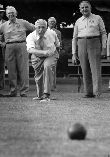 "In a city park, a bocce player reacts to his throw - apparently with dismay. This photo, titled ""Mind Over Matter,"" won third place in a 1951 NPPA Photo Competition Sports Class. (Hans Marx/Baltimore Sun)"