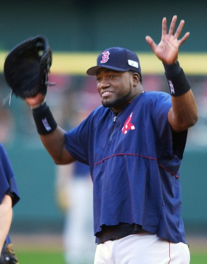 Boston Red Sox's David Ortiz clowns during a team workout at Busch Stadium in St. Louis Monday, Oct. 25, 2004. (Charles Rex Arbogast/AP Photo)