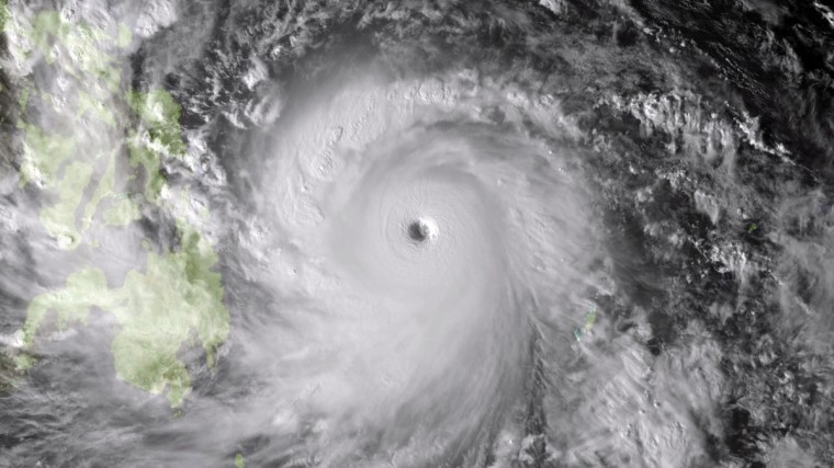 This NOAA image shows Super Typhoon Haiyan taken by the Japan Meteorological Agency's MTSAT at 0630Z on November 7, 2013. The strong and dangerous typhoon is approaching the Philippines from the east. The track of the storm has the eyewall entering the Leyte Gulf near 00Z on November 8, 2013 with minimal decrease in ferocity. Due to the extremely favorable environmental conditions and recent intensification Haiyan is expected to remain at super typhoon intensity over the next 24 hours. (Getty Images)