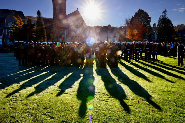 Members of Scotland's armed forces and veterans gather to commemorate and pay respect to the sacrifice of service men and women who fought in the two World Wars and subsequent conflicts on November 10, 2013 in Fort William, Scotland. People across the UK gathered to pay tribute to service personnel who have died during conflicts, as part of the annual Remembrance Sunday ceremonies. (Jeff J Mitchell/Getty Images)