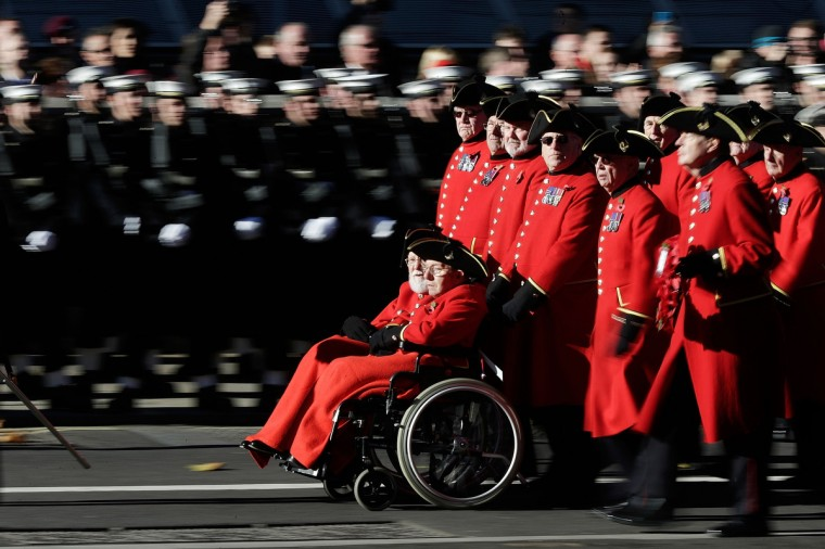 Veterans make their way past the Cenotaph on Whitehall during the annual Remembrance Sunday service on November 10, 2013 in London, United Kingdom. People across the UK gathered to pay tribute to service personnel who have died in the two World Wars and subsequent conflicts, as part of the annual Remembrance Sunday ceremonies. (Matt Cardy/Getty Images)