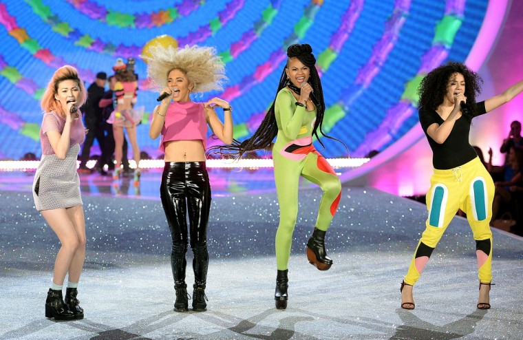 Neon Jungle perform on the runway at the 2013 Victoria's Secret Fashion Show at Lexington Avenue Armory on November 13, 2013 in New York City. (Dimitrios Kambouris/Getty Images)