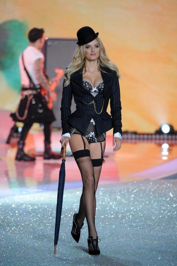 Model Lily Donaldson walks the runway at the 2013 Victoria's Secret Fashion Show at Lexington Avenue Armory on November 13, 2013 in New York City. (Bryan Bedder/Getty Images for Swarovski)