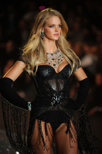 Model Erin Heatherton walks the runway wearing Skirt with Swarovski Crystalsat the 2013 Victoria's Secret Fashion Show at Lexington Avenue Armory on November 13, 2013 in New York City. (Photo by Bryan Bedder/Getty Images for Swarovski)