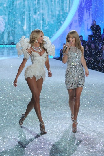 Model Lily Aldridge walks the runway wearing corset using Swarovski Crystals and Singer Taylor Swift at the 2013 Victoria's Secret Fashion Show at Lexington Avenue Armory on November 13, 2013 in New York City. (Photo by Bryan Bedder/Getty Images for Swarovski)