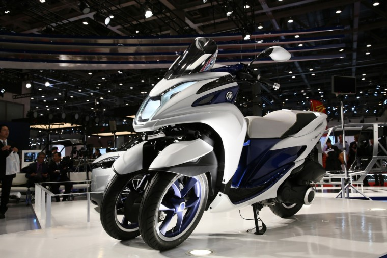 TRICITY prototype (124 cc) is displayed at the Yamaha booth during the press preview for The 43rd Tokyo Motor Show 2013 at Tokyo Big Sight on November 20, 2013 in Tokyo, Japan. (Keith Tsuji/Getty Images)