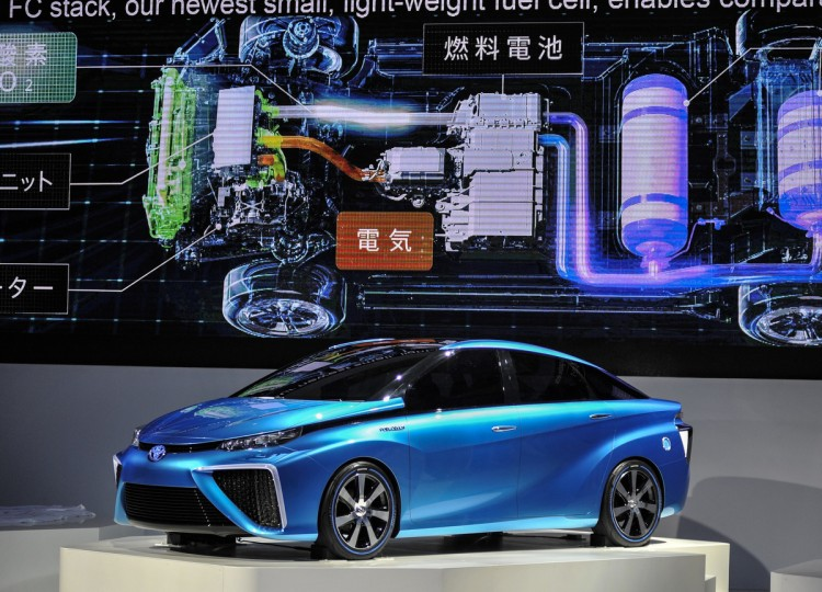 Toyota Motor Corp. FCV Concept vehicle is on display during the 43rd Tokyo Motor Show 2013 at Tokyo Big Sight on November 20, 2013 in Tokyo, Japan. (Keith Tsuji/Getty Images)