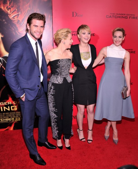 "(L-R) Liam Hemsworth, Elizabeth Banks, Jennifer Lawrence and Jena Malone attend the ""Hunger Games: Catching Fire"" New York Premiere at AMC Lincoln Square Theater in New York City. (Stephen Lovekin/Getty Images)"