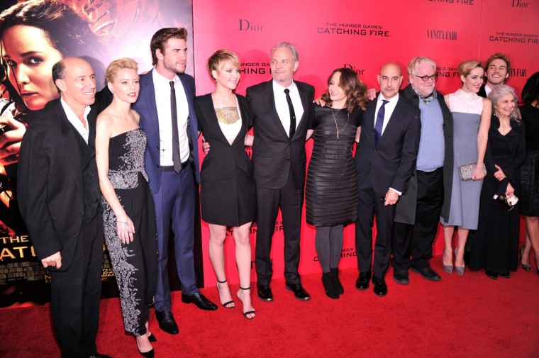 "(L-R) Jon Kilik, Elizabeth Banks, Liam Hemsworth, Jennifer Lawrence, Francis Lawrence and Nina Jacobson attend the ""Hunger Games: Catching Fire"" New York Premiere at AMC Lincoln Square Theater in New York City. (Rob Kim/Getty Images)"