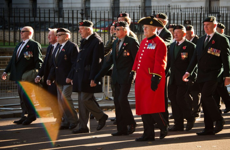 Veterans march towards Horseguards Parade after taking part in the Remembrance Sunday service in central London on November 10, 2013. (Leon Neal/Getty Images)
