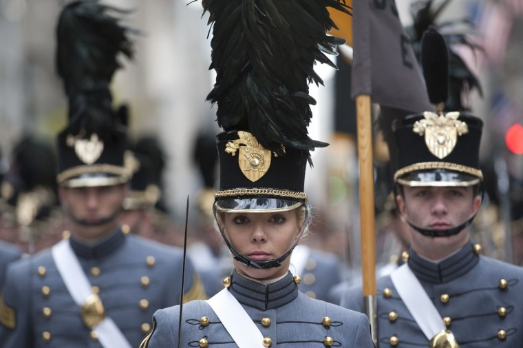 Cadets from the United States Military Academy at West Point march during the annual Veterans Day Parade November 11, 2013 on Fifth Avenue in New York. The parade honored all veterans with a special salute to women in uniform. (Stan Honda/Getty Images)