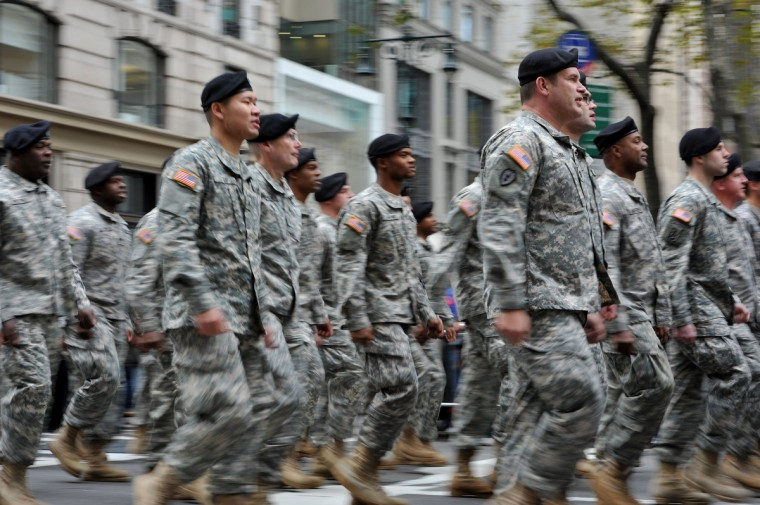US Army unit marches during the annual Veterans Day Parade November 11, 2013 on Fifth Avenue in New York. (Stan Honda/Getty Images)