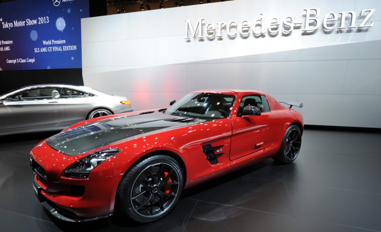 SLS AMG GT final edition car is seen on display after its world premier at the press briefing in the Tokyo Motor Show in Tokyo on November 20, 2013. (Toshifumi Kitamura/Getty Images)
