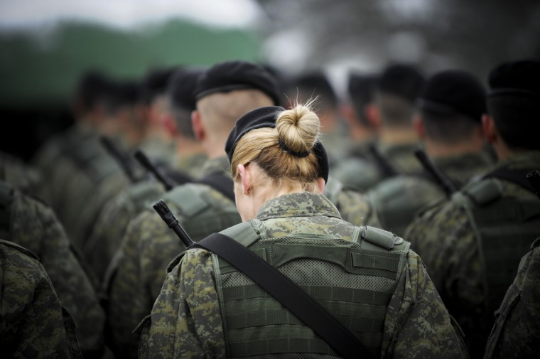 Members of the Kosovo Security Force (KSF) stand at attention in Pristina during the celebration marking the fifth anniversary of its creation. (Armend Nimani/Getty Images)
