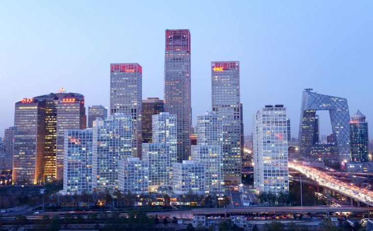 A general view shows the skyline of a central business district in Beijing. Foreign investment into China rose 5.77 percent on year in the first 10 months of 2013, the government said on November 19. (Wang Zhao/Getty Images)