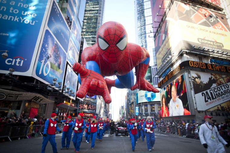 The Spiderman balloon makes its way through Times Square in Macy's Thanksgiving Day parade on November 24, 2011 in New York City. The 85th annual event is the second oldest Thanksgiving Day parade in the U.S. (Michael Nagle/Getty Images)