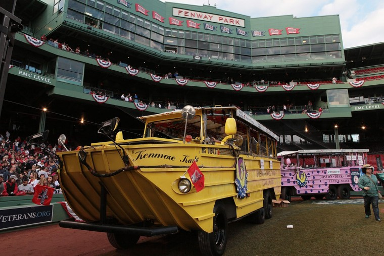 Duck boats assemble at Fenway Park before the World Series victory parade for the Boston Red Sox on November 2, 2013 in Boston, Massachusetts. (Gail Oskin/Getty Images)