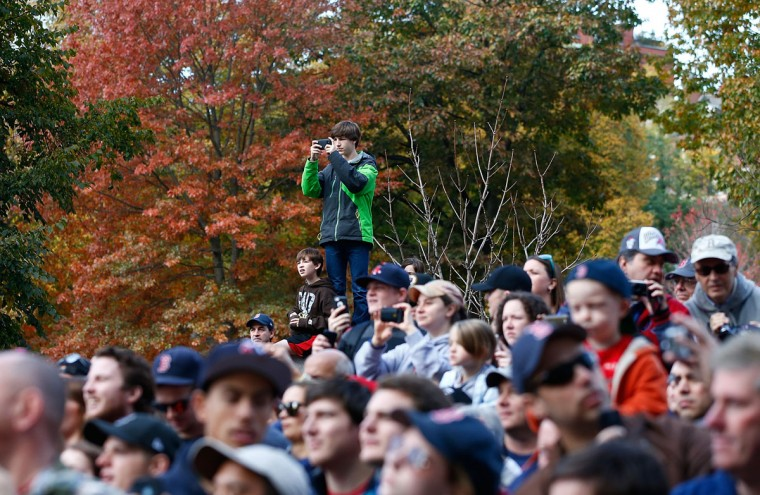 Boston Red Sox fans cheer from the Boston Common during the World Series victory parade on November 2, 2013 in Boston, Massachusetts. (Jared Wickerham/Getty Images)