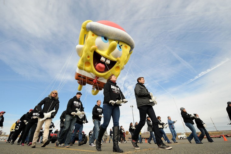 The SpongeBob SquarePants balloon takes a test flight during Macy's Thanksgiving Day Parade Balloonfest at MetLife Stadium on November 9, 2013 in East Rutherford, New Jersey. (Brad Barket/Getty Images for Nickelodeon)