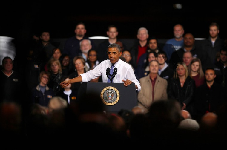 U.S. President Barack Obama speaks to workers at ArcelorMittal, the world's largest steel company, November 14, 2013 in Cleveland, Ohio. The President touched on the topics of the economy and health care. (Michael Francis McElroy/Getty Images)
