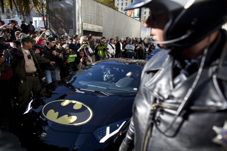 Police escorts 5-year-old leukemia survivor Miles, also known as BatKid as he exits his cave at Union Square November 15, 2013 in San Francisco. Make-A-Wish Greater Bay Area foundation turned the city into Gotham City for Miles by creating a day long event bringing his wish to be a BatKid to life. (Ramin Talaie/Getty Images)