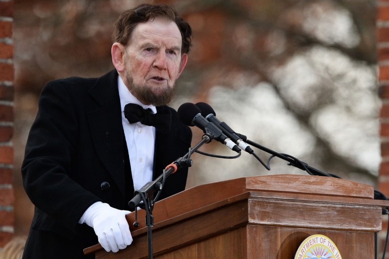 Portraying U.S. President Abraham Lincoln, James Getty, recites the Gettysburg Address during a commemoration of the 150th Anniversary of the Gettysburg Address at the Soldiers' National Cemetery at Gettysburg National Military Park on November 19, 2013 in Gettysburg, Pennsylvania. The iconic Gettysburg Address speech was first given by U.S. President Abraham Lincoln in 1863 during the Civil War. (Patrick Smith/Getty Images)