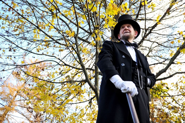 Portraying U.S. President Abraham Lincoln, James Getty, stands behind stage before reciting the Gettysburg Address during a commemoration of the 150th Anniversary of the Gettysburg Address at the Soldiers' National Cemetery at Gettysburg National Military Park on November 19, 2013 in Gettysburg, Pennsylvania. The iconic Gettysburg Address speech was first given by U.S. President Abraham Lincoln in 1863 during the Civil War. (Patrick Smith/Getty Images)
