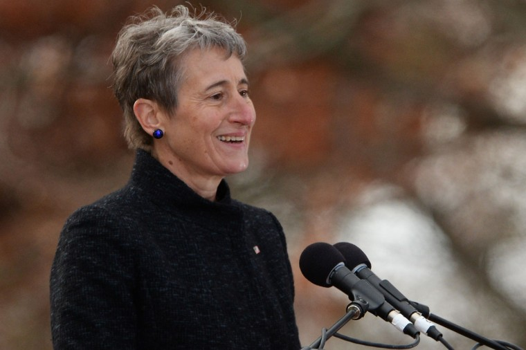 "Keynote speaker and Secretary of the Interior, Sally Jewell, speaks during a commemoration of the 150th Anniversary of the Gettysburg Address at the Soldiers' National Cemetery at Gettysburg National Military Park on November 19, 2013 in Gettysburg, Pennsylvania. The iconic Gettysburg Address was given by U.S. President Abraham Lincoln in 1863 during the Civil War and highlighted the principles of democracy, human equality, and freedom and professed that ""government of the people, by the people, for the people, shall not perish from the earth."" (Patrick Smith/Getty Images)"