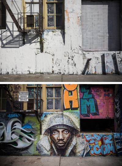 In this before-and-after photo compilation, a piece of street art is seen at the historic graffiti mecca 5 Pointz on August 9, 2013 (bottom), and again, after being painted over by developers in the dead of night on November 19, 2013 in the Long Island City neighborhood of the Queens borough of New York City. Artists and representatives of 5 Pointz have been in a brutal battle to save the building, which the owner, Jerry Wolkoff, wants to knock down in order to develop high rise apartment buildings. The artists have argued that the building should be saved by the city as a historic landmark, though in the early morning hours of November 19, 2013 the owners hired workers to paint over a majority of the paintings. (Andrew Burton/Getty Images)