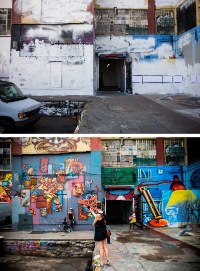 In this before-and-after photo compilation, street art is seen at the historic graffiti mecca 5 Pointz on August 9, 2013 (bottom), and again, after being painted over by developers in the dead of night on November 19, 2013 in the Long Island City neighborhood of the Queens borough of New York City. Artists and representatives of 5 Pointz have been in a brutal battle to save the building, which the owner, Jerry Wolkoff, wants to knock down in order to develop high rise apartment buildings. The artists have argued that the building should be saved by the city as a historic landmark, though in the early morning hours of November 19, 2013 the owners hired workers to paint over a majority of the paintings. (Andrew Burton/Getty Images)