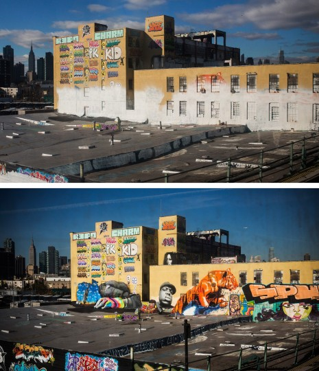 In this before-and-after photo compilation, the historic graffiti mecca 5 Pointz is seen on August 9, 2013 (bottom), and again, after being painted over by developers in the dead of night on November 19, 2013 in the Long Island City neighborhood of the Queens borough of New York City. Artists and representatives of 5 Pointz have been in a brutal battle to save the building, which the owner, Jerry Wolkoff, wants to knock down in order to develop high rise apartment buildings. The artists have argued that the building should be saved by the city as a historic landmark, though in the early morning hours of November 19, 2013 the owners hired workers to paint over a majority of the paintings. (Andrew Burton/Getty Images)