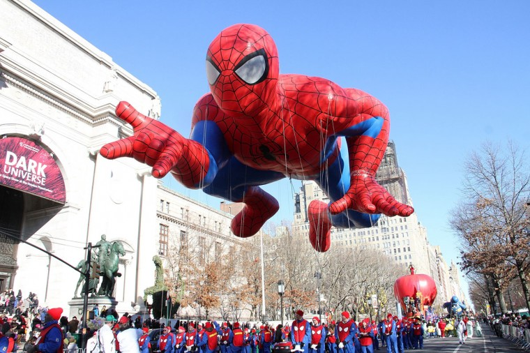 Spiderman balloon floats in the 87th Annual Macy's Thanksgiving Day Parade on November 28, 2013 in New York City. (Photo by Laura Cavanaugh/Getty Images)